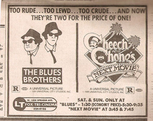 Blues Brothers Cheech & Chong Movie Ads