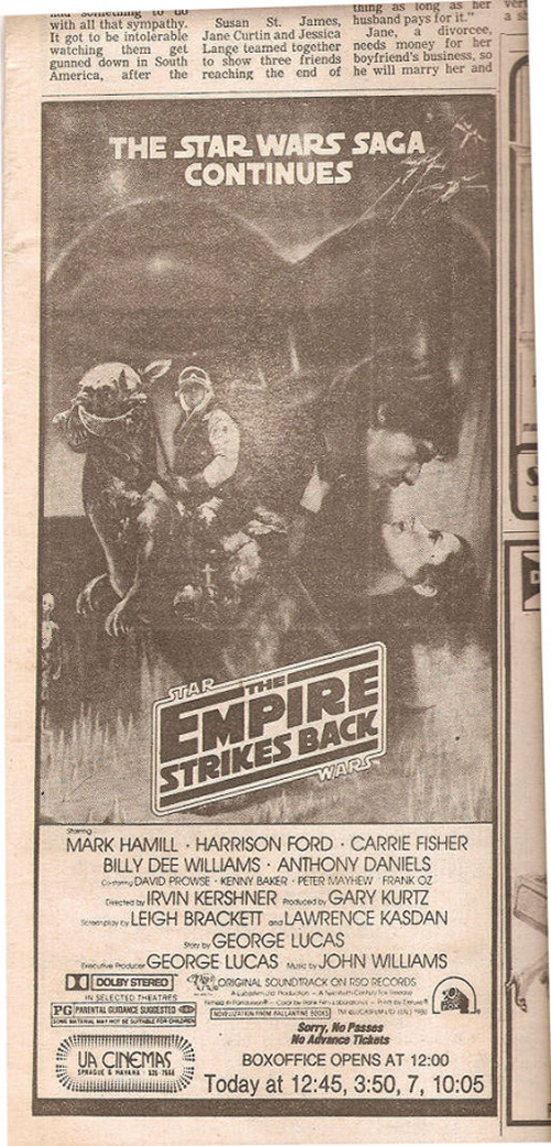 Star Wars Movie Advertisement Newspaper Clipping