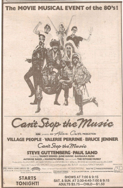 Can't Stop the Music Movie Advertisement Newspaper Clipping