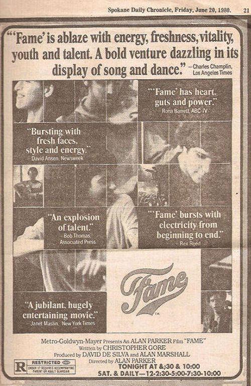 Fame Newspaper Movie Ad
