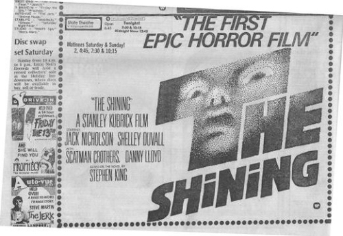 The Shining Newspaper Movie Ad