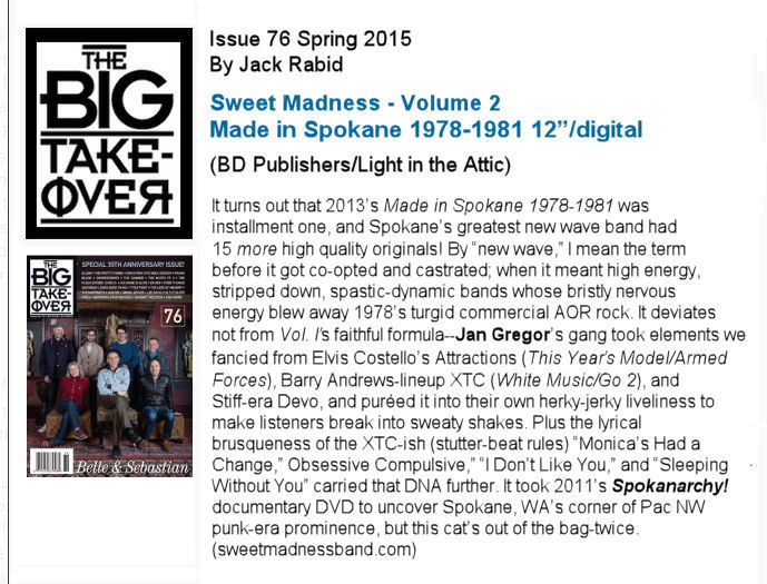 Sweet Madness, Big Takeover Magazine