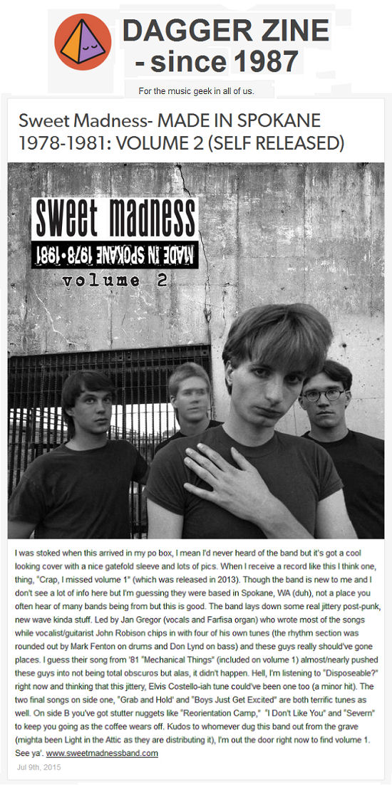 Sweet Madness, Made in Spokane, Danger Zine